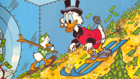 Scrooge McDuck Skiing In His Money Vault