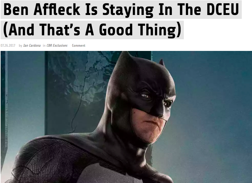 He's the best live action Batman and we WILL fight you